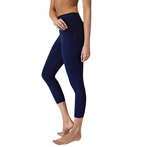 Quaan Sporthose Damen High Waist Blinkdicht Sport Leggings Elastische Tummy Control Yogahose Lange Laufhose mit Taschen