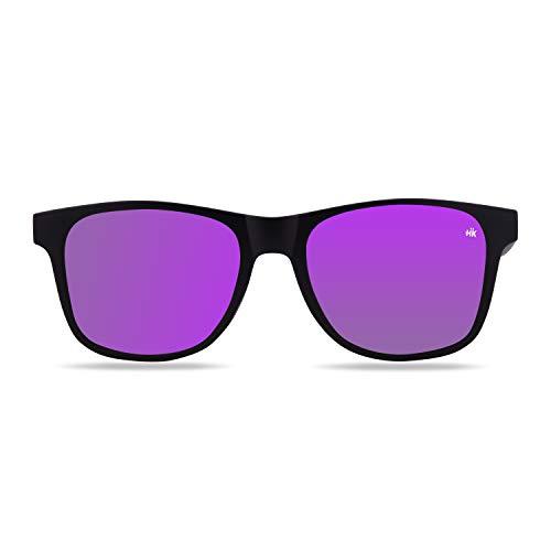 Hanukeii Gafas de Sol Hombre y Mujer Polarizadas Kailani, Color Negro Lente Morada