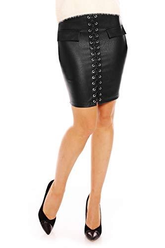Mayaadi Damen Rock Leder Look Leder Optik Lederimitat Geschnürt Bleifstiftrock Sexy V748 Schwarz M