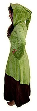 Lotus Moon - Robe lutin pour femmes avec chapeau pointu médiéval vert citron émeraude gothique