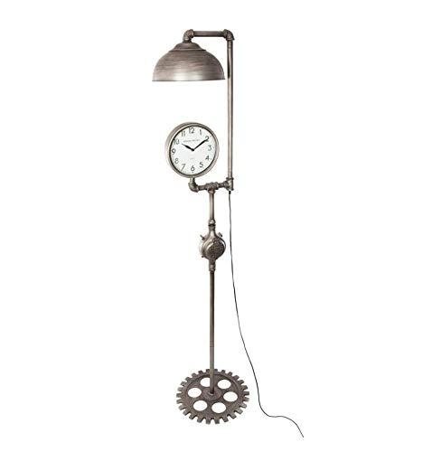 (Atmosphera - 2-in-1 Große Stehlampe mit Uhr im Industrie-Stil - Höhe 188 cm - Farbe Zinn)
