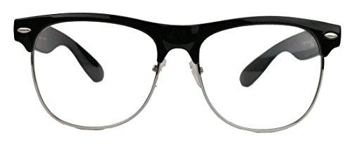 amashades Vintage Nerdies 50er Jahre Retro Nerd Brille Halbrahmen Hornbrille Browline Rockabilly Streberbrille (Gr.Large : Schwarz/Silber)