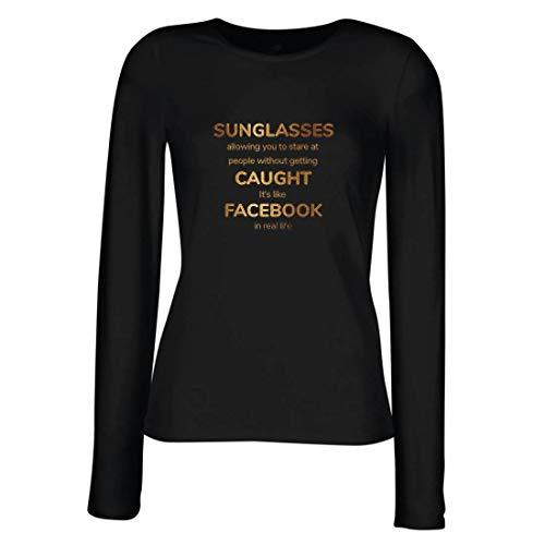 lepni.me Weibliche Langen Ärmeln T-Shirt Lustiges Facebook-Angebot für Social Media im wirklichen Leben (XX-Large Schwarz Mehrfarben)