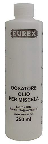 Dosatore olio per miscela 250 ml con tappo, scala graduata e percentuali 2-4% 2,5-5% 3-6%