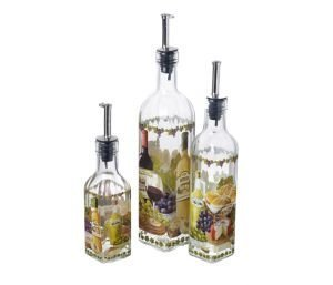 Italian Wine & Cheese Design Glass Oil / Vinegar Bottle With Pourer Lid (Small - one supplied) by Stow Green