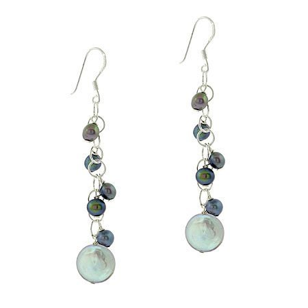 Sterling Sterling Schwarz Grau SilverIridescent Echtleder Süßwasser-Perlenkette Rolo-Kette und Haken-Ohrringe