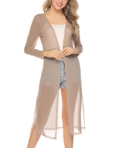 Abollria Damen Sommer Cardigan Leichte Lange Jacke Transparente Offene Strickjacke mit Seitenschlitze - Offene Strickjacke