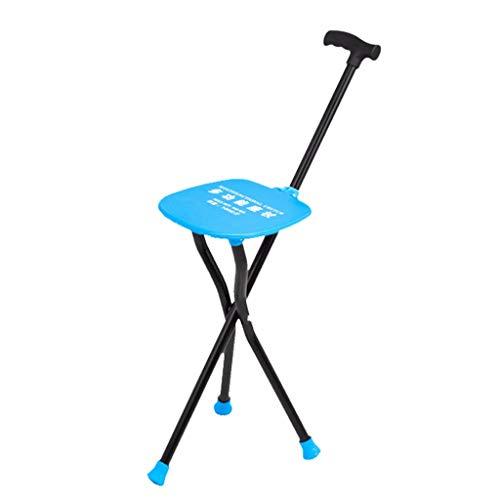 Dreibeiniger Krücken-Stuhl mit Led-Taschenlampe Gehstock Aluminium Cane Hocker, Gehstock-Reisehilfe für ältere Menschen