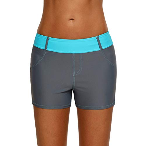 Fuibo Damen Badeshorts Bikinihose Shorts, Frauen Badeanzug Shorts Bikini Badehose Plus Größe Bottom Boardshort Badeshort (XL, Light blue) - Länge Bademode Plus Größe