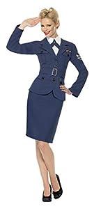 Smiffys-35527L Capitana de la Fuerza aérea de la 2a Guerra Mundial, con chaqueta, camisa postiza con corbata, y cinturón, Color azul, L - Tamaño UK  16-18