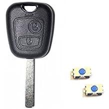 Carcasa con 2 botones para llave de Peugeot 107, 207, 307 y 308 + 2 botones Switch