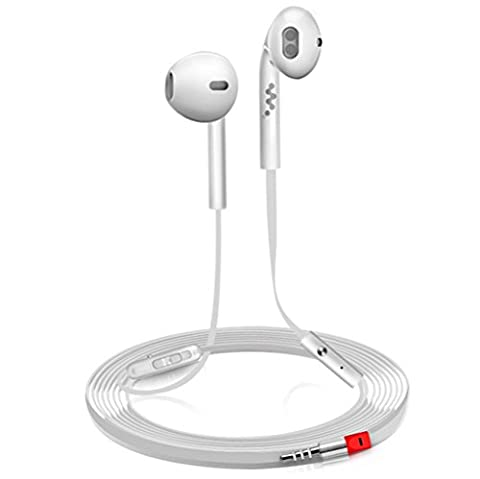 Mushy® Universal In-Ear Écouteurs Earphone Intra-auriculaires Stéréo Télécommande Micro Filaire Oreillette de Sport Fil Plat Contrôle du Volume et Appel Multifonction Pr iOS et Android (blanc)