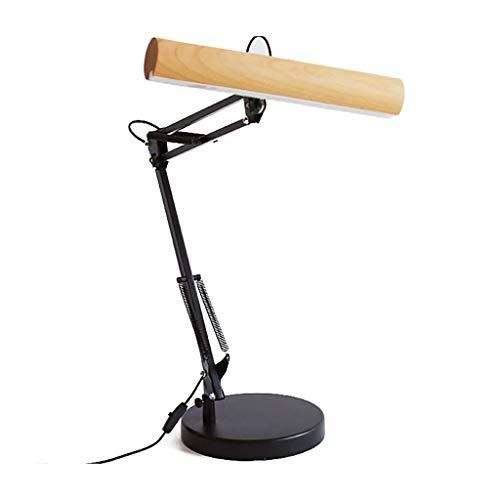 Long Arm Light - Lampe de table en bois massif, Lampe de table à vent industrielle télescopique LED Lampe de travail en bois classique en bois