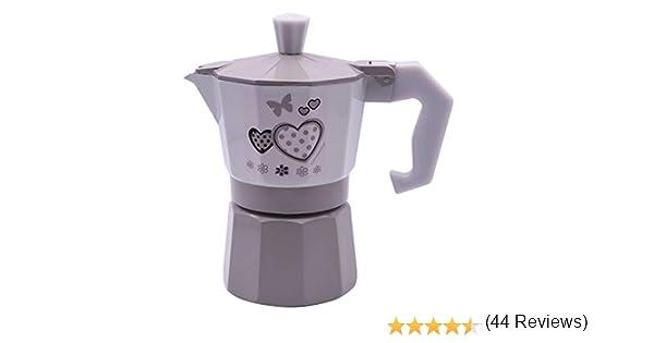 1 Tazza D90 Vetrineinrete/® Caffettiera Fango e Bianco Shabby Chic Moka 1 2 o 3 Tazze Macchina del caff/è in Alluminio per Espresso Idea Regalo