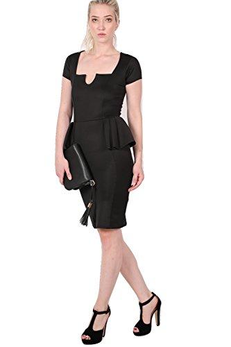 PILOT® Isabella carré v coupe robe peplum cou moulante Noir