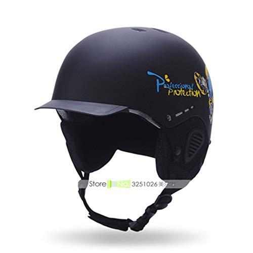 Marke Mann/Frau / Kinder Ski Helm Roller-Skating Skateboard Snowboard Helm Moto Bike Radfahren Maske Angeln Ski/Schlitten Sport Sicherheit Black Teenagers 52-56cm