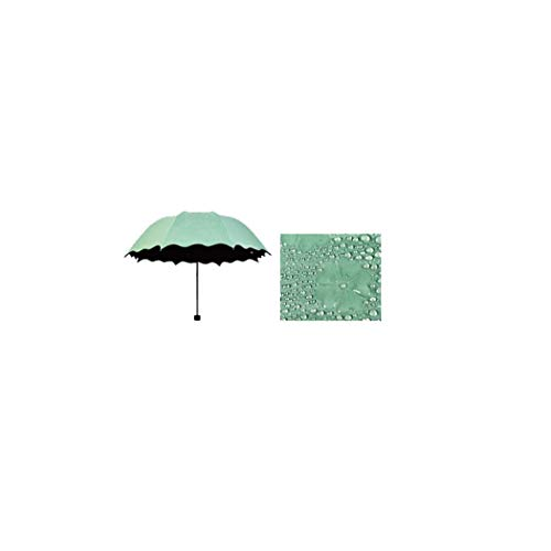 MISS&YG Faltschirm, ultraleichter Mini-Sonnenschirm tragbarer UV-Schutz UPF 50 Regenschutz dreifacher Schirm,lakegreen