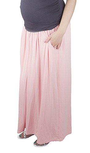 Mija - Confortable jupe de grossesse et de maternité Maxi longue 3048A Coral Pink