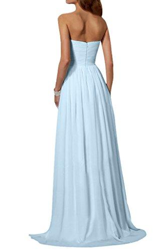 Ivydressing Damen Einfach Traegerlos Promkleid A-Linie Chiffon Lang Festkleid Ballkleid Abendkleider Himmelblau