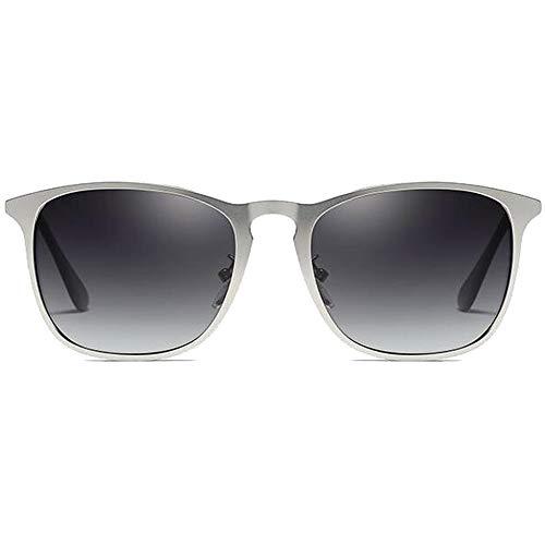 Lxc Retro New Metal Sonnenbrille Mit Silbernem Rahmen Und Grau/Blauen Gläsern Für Männer Und Frauen Mit Der Gleichen Polarisierten Sonnenbrille Zeige Temperament (Farbe : Gray)