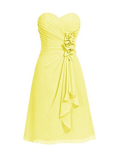 Dresstells, robe courte de demoiselle d'honneur mousseline Col en cœur Jaune