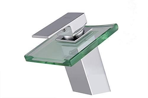 Luxus Wasserfall Armatur inkl. gratis Ablaufgarnitur Wasserfallarmazur Armatur Wasserhahn Bad Küchen Glas w29