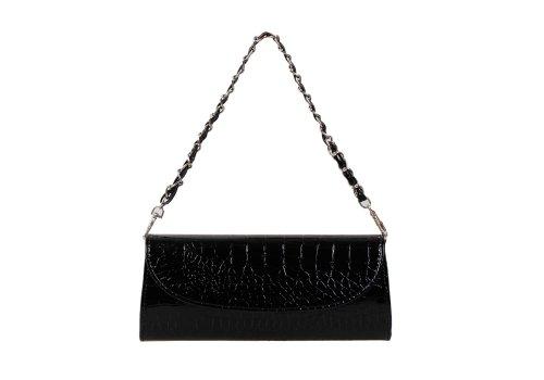 Bundle Monster Womens Fashion Classy Envelope Evening Patent Croc Skin Embossed Clutch Hand Bag Purse Midnight Black