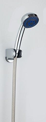 DP Grifería RY-H051+RY-P012+RY-S001 – Mango de ducha con soporte de ducha y flexo incluidos color plateado