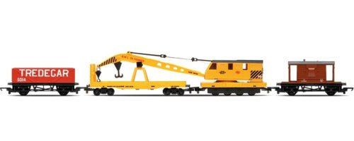 Hornby - R6365 - Répartition Train - 20T Brake Van Crane LWB Open Wagon - Railroad