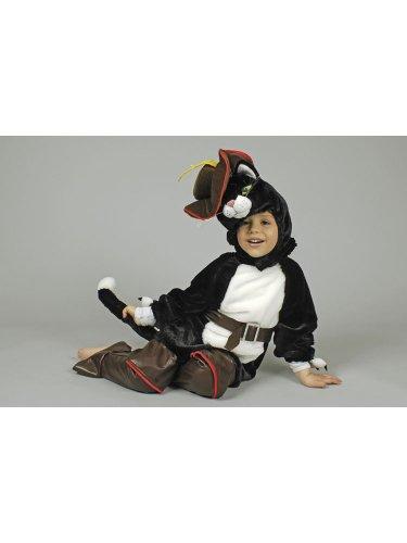 Gestiefelte Kater Kinder Der Kostüm - KULTFAKTOR GmbH Gestiefelter Kater Plüsch-Overall Kinderkostüm schwarz 98/104 (3-4 Jahre)