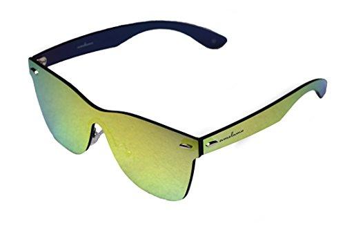 amoloma Rahmenlose Randlose Nur Glas Sonnenbrille Wayfarer Stil gold verspiegelt