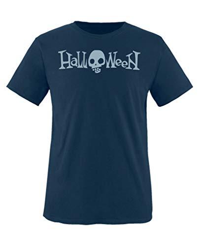 Comedy Shirts - Halloween Schriftzug Schaedel - Jungen T-Shirt - Navy/Eisblau Gr. 110-116