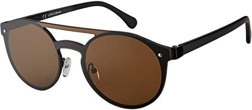 La Optica B.L.M. UV400 CAT 3 Unisex Damen Herren Sonnenbrille Pilotenbrille Round Randlos Kreis - Metal Schwarz (Gläser: Braun)