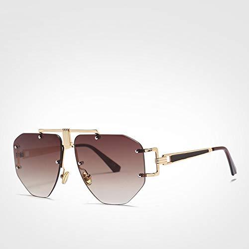 LXXSSRA Sonnenbrille Luxusmarke Coole Herren Sonnenbrille Grau Blau Randlose Sonnenbrille Damen Uv400 Orange Sonnenbrille