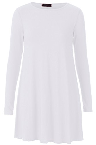 Fast Fashion Damen Gefummelt Kleid Lange Ärmel Plus Größe Klar Schwingen (Casual Kleider Lange)