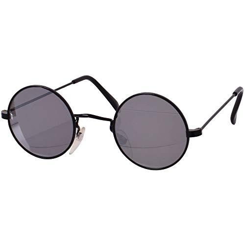 TE-Trend 70er Hippie Karneval Brille rund schwarz matt verspiegelt Kostüm Zubehör Partybrille Flower Power Lennon Osborne