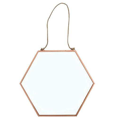 Cobre Hexagonal espejo rústico cuerda para colgar 26cms x 30cms