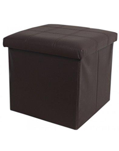 Hogar y Mas Puff/baúl Plegable de Almacenamiento. Diseño Minimalista Color Chocolate. Elegante/Práctico