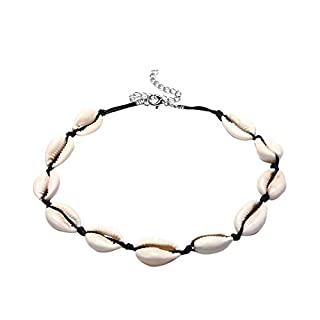 ACVIP Women's Boho Style Shell Waxed Cord Necklace Chokers (Style A-Black)