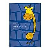 Kartenkaufrausch 2 Lustige DIN A5 Schulhefte, Rechenhefte mit fröhlicher Giraffen auf blau Lineatur 7 (kariertes Heft)