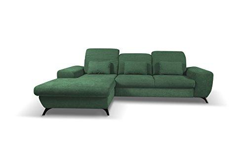 mb-moebel Ecksofa Eckcouch mit Bettkästen mit Schlaffunktion Soft Couch Wohnlandschaft L-Form Polsterecke Corse Grün (Ecksofa Links)