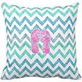 Pink Glitter Flip Flops Teal Aqua Chevron Pattern Throw Pillow case 1616