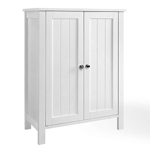 SONGMICS Badschrank Badezimmerschrank Schuhschrank Regal Aufbewahrungmit Doppeltür 2 Verstellbare Einlegeböden weiß 60 x 80 x 30 cm (B x H x T) BCB60W, Holz, Doppeltüriger