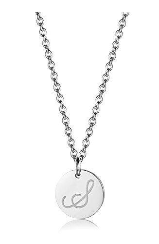 BE STEEL Edelstahl Halskette für Herren Damen Alphabet Halskette Initiale Kette Männer Buchstaben S Silberton 46+5CM