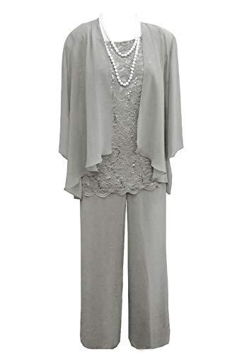 Pretygirl Damen 3 Stück Spitze Chiffon Mutter der Braut Kleid Hose Anzüge mit Jacke Outfit für Hochzeit Bräutigam(US 14, Silber Grau)
