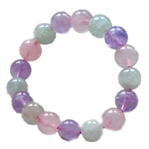 JunBo Mischen natürliche Pulver Crystal Amethyst Traube Dreifarben Stein Armband EIS Farbe frischen rosa Hand Zeichenfolge