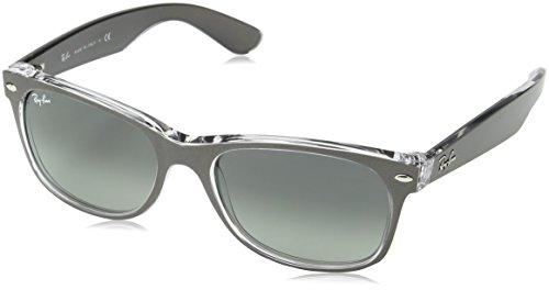 Ray Ban Unisex Sonnenbrille New Wayfarer, Mehrfarbig (Gestell: Gunmetal/transparent, Gläser: grau verlauf 614371), Large (Herstellergröße: 55)