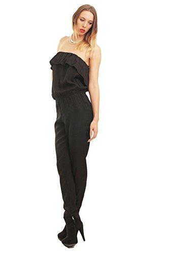 ONLY Damen Overall Jumpsuit Einteiler sexy Catsuite Karneval-Kostüm Cat-Woman, Farbe:Schwarz, Größe:38