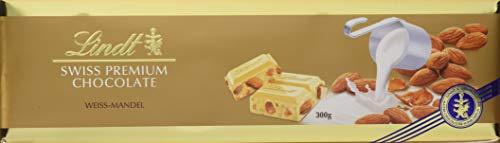 Lindt Weiße Mandel Tafel, Swiss Premium Chocolate, ganze geröstete Mandeln mit Nougatstückchen umhüllt von weißer Schokolade, 2er Pack (2 x 300 g)