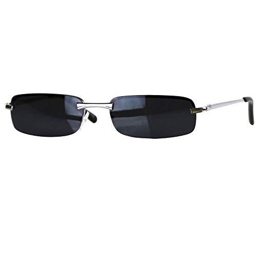 Caripe sportliche Sonnenbrille Herren rechteckig rahmenlos verspiegelt - herso (One Size, Modell 1 - schwarz - black getönt)